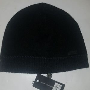 John Varvatos whip stitch black beanie 100% wool